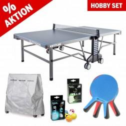Kettler Tischtennistisch Hobby Set mit Outdoor 10 grau/blau