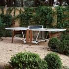 Weisser RS Barcelona Designer Outdoor Tischtennistisch